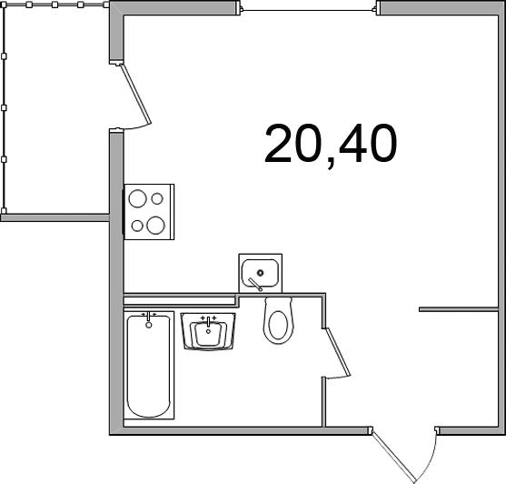 Планировка Студия площадью 30.2 кв.м в ЖК «Олимпийский (Колтуши)»