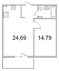 Планировка Однокомнатная квартира площадью 49.93 кв.м в ЖК «Олимпийский (Колтуши)»