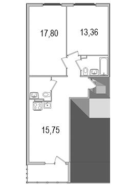 Планировка Двухкомнатная квартира площадью 64.78 кв.м в ЖК «Олимпийский (Колтуши)»