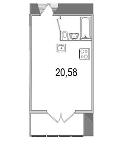 Планировка Студия площадью 28.69 кв.м в ЖК «Олимпийский (Колтуши)»