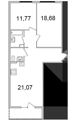 Планировка Двухкомнатная квартира площадью 71.81 кв.м в ЖК «Олимпийский (Колтуши)»