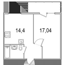 Планировка Однокомнатная квартира площадью 42.25 кв.м в ЖК «Олимпийский (Колтуши)»