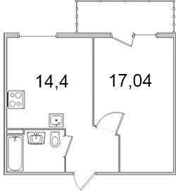 Планировка Однокомнатная квартира площадью 41.95 кв.м в ЖК «Олимпийский (Колтуши)»