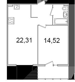 Планировка Однокомнатная квартира площадью 47.63 кв.м в ЖК «Олимпийский (Колтуши)»