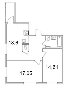 Планировка Двухкомнатная квартира площадью 64.91 кв.м в ЖК «Олимпийский (Колтуши)»