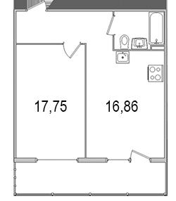 Планировка Однокомнатная квартира площадью 49.43 кв.м в ЖК «Олимпийский (Колтуши)»